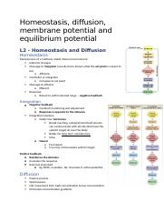 Homeostasis, diffusion, membrane potential and equilibrium potential