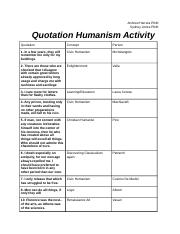 Quotation Humanism Activity