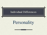 Individual DifferencesPersonality-1