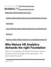 Why Mature HR Analytics demands the right Foundation