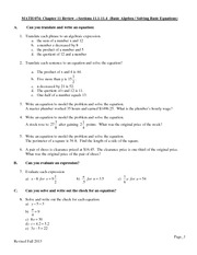 Chapter 11 Review on Pre-Algebra