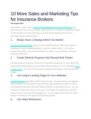 10 More Sales and Marketing Tips for Insurance Brokers.docx