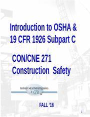 Subpart C Update SPR15 pptx - Introduction to OSHA 19 CFR 1926