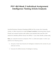 PSY 450 Week 3 Individual Assignment Intelligence Testing Article Analysis