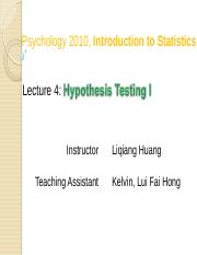 Stat 04 (Hypothesis Testing I)