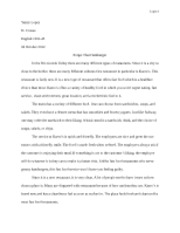 restaurant evaluation essay yancy lopez d crouse english  2 pages final essay