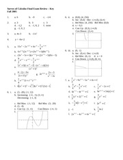 Survey of Calculus Final Exam Review Key