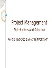 Project management stakeholders and selection V2