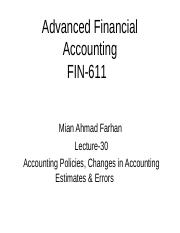 Advanced Financial Accounting - FIN611 Power Point Slides Lecture 30.ppt