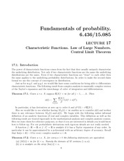 Characteristic Functions, Law of Large Numbers, and Central Limit Theorem notes