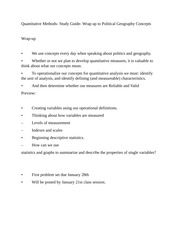Quantitative Methods- Study Guide- Wrap up to Political Geography Concepts