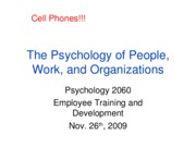 Lecture 11, Employee Training and Development, Full Slides, Nov. 26th, 2009