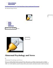 Abnormal Psychology and Stress - Essay - Blaine.html
