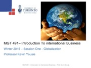 MGT 491 - Globalization - Winter 2015