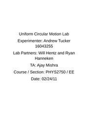 Uniform Circular Motion Lab