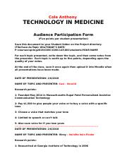 Audience Participation form Technology in Medicine.docx
