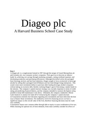 diageo plc case harvard Diageo plc - diageo was conglomerate involved in food and beverage industry in 1997 initially founded by a merger between grand metropolitan and guinness, the company.