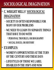 Week 1 Lecture B - SOCIOLOGICAL IMAGINATION C WRIGHT MILLS