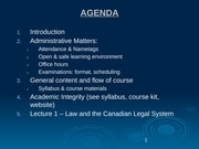 Lecture 1 - law and the canadian legal system