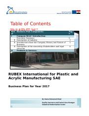RUBEX International for Plastic and  Acrylic Manufacturing SAE- Business Plan.docx