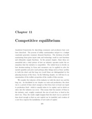 Chapter 11 - Competitive Equilibrium I