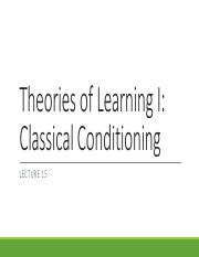 Lecture 15 Classical Conditioning
