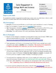 Daily Engagement Study Flyer STAT 350