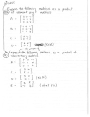 Worksheets - Elementary Matrices