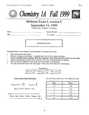Chemistry 1A - Fall 1999 - Pines - Midterm 1