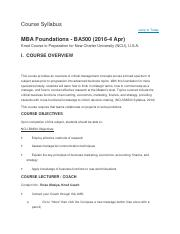 Course Syllabus(MBA Foundations )