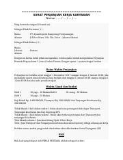 Surat Perjanjian Kerja Karyawan Baristadocx Surat
