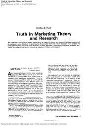 Hunt (1990) Truth in Marketing Theory