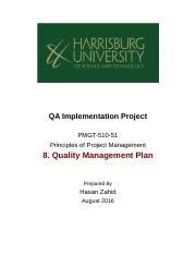 QUALITY MANAGEMENT PLAN -8th Assignment.docx