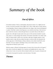 Summary of the book OUT OF AFRICA.docx