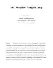 Lab 1 TLC Analysis of Analgesic Drugs