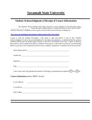 Student Acknowledgment Form Updated