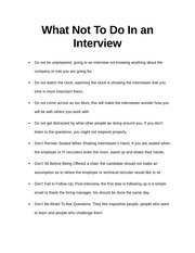 What Not To Do In an Interview