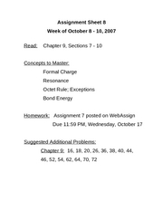 Chem 184 - Assignment Sheet 8