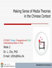 CCCH9017 Week 2 Making Sense of Media Theories Outline