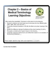 Chapter 2 The Basics of Medical Terminology 1