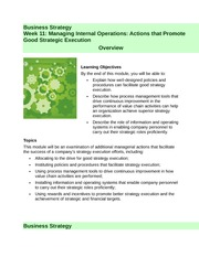 Week 11 - Managing Internal Operations Actions that Promote Good Strategic Execution