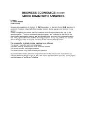 Business Economics mock exam 2015 16 with answers