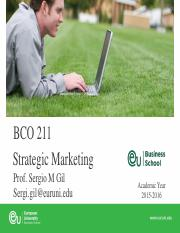 Strategic Marketing Fall15 Sessions 1 and 2