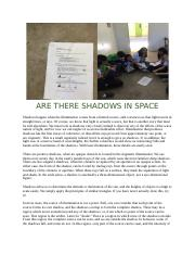 are there shadows in space.docx