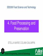 EB3309 4 Food Processing and Preservation