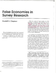 False Economies Article