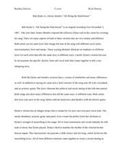 "Essay #1 Final - Bob Dylan vs. Jimmy Hendrix ""All Along the Watchtower"""