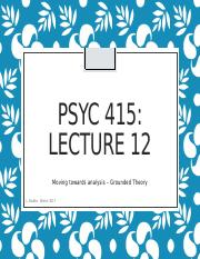 Lecture 12- Grounded Theory