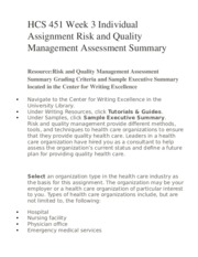 hcs 451 executive summary of healthcare Hcs 451 week 3 quality management assessment summary individual quality management assessment summary use the same organization type you selected for the risk management assessment summary in week two your role as a consultant continues as you relate risk management policies and practices to quality management you must summarize a plan for the organization's leadership that will serve as.