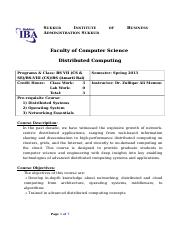 Course Outline - Distributed Computing - BS-VII - VIII Spring 2013.doc
